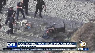 Man arrested at Blacks Beach after waving gun in the air - Video
