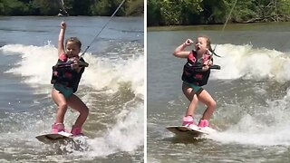SASSY SIX-YEAR-OLD GIRL DANCES WHILE WAKEBOARDING IN HILARIOUSLY SASSY CLIP