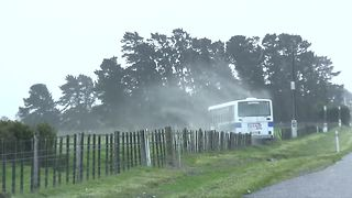 Extreme winds in New Zealand push school bus off road - Video