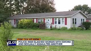 Sword-wielding man attacks women