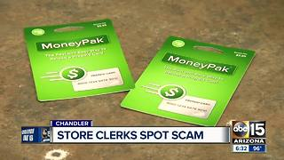 Store clerks spot scam, saves business owner from losing money - Video