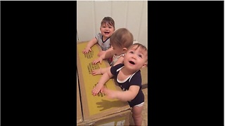 Baby Triplets Demonstrate Their Drumming Skills