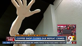 Coffee shop closes due to repeat crimes