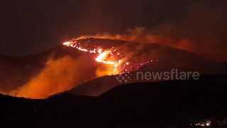 Timelapse shows Canyon Fire  gaining ground in Orange County - Video