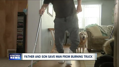 Father and son save a man from a burning truck