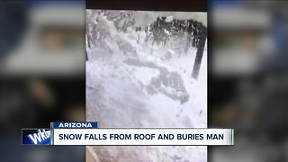 Incredible Video! Snow falls from roof and buries man