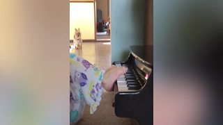 """A Toddler Plays Piano With Her Feet"""