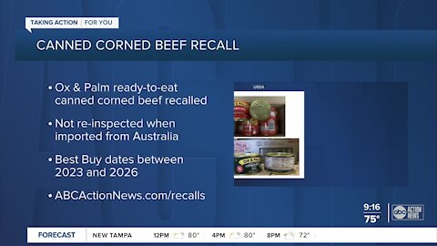 Canned corned beef products recalled for not being re-inspected
