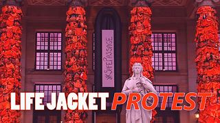 14,000 life jackets highlight the refugee crisis - Video