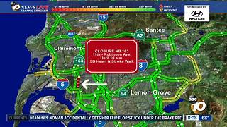 Traffic Alert: NB 163 closed - Video