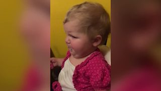 Baby Pulls Funny Faces When Trying Greens For The First Time
