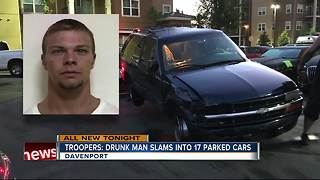 Troopers: Drunk man slams into 17 parked cars - Video