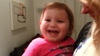 Baby Welcomes Dad Home With Hysterical Giggles - Video