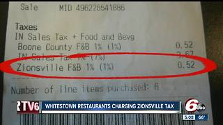 Whitestown restaurants charging Zionsville tax - Video