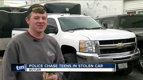 Gas station customer initiates Butler police chase of stolen car