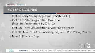 Deadlines to know ahead of Nov. 3 election
