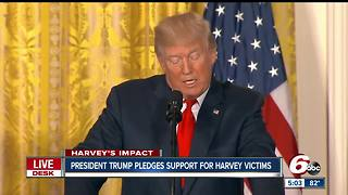 President Trump pledges support for Hurricane Harvey victims - Video