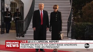President, First Lady Trump speak as they leave the White House for final time