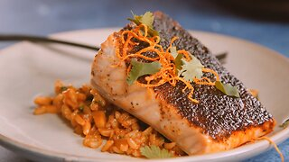 Oven Roasted Ancho Espresso Dusted Salmon - Cilantro and Almond Spanish Rice