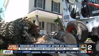 Neighbors cleaning up after EF-2 tornado in Kent Island - Video