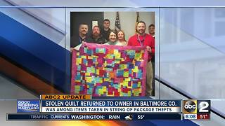 POLICE: Stolen quilt returned to owner - Video