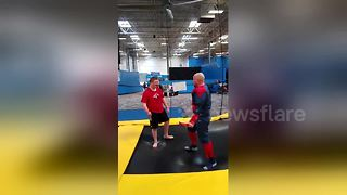 After six years in jail father surprises son on birthday by dressing as Spider-Man - Video