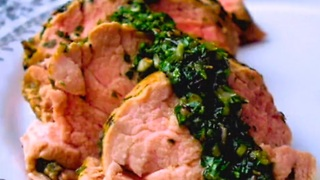 Filet mignon of pork with chimichurri sauce