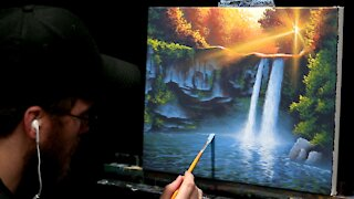 Acrylic Landscape Painting of a Waterfall at Sunset - Time-lapse - Artist Timothy Stanford