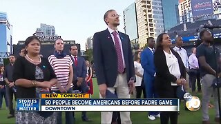 50 people become Americans before Padre game
