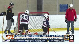 Baltimore Saints teach lessons on and off the ice for those with special needs - Video