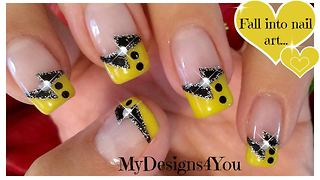 Black and yellow French tip nail art - Video
