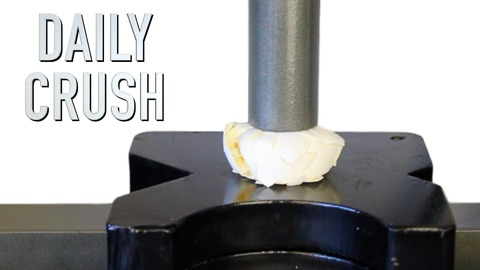 Crushing a hard boiled egg with a hydraulic press
