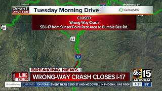 Wrong-way crash closes SB I-17 north of Valley - Video