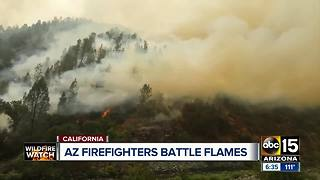 Arizona firefighters continue to help battle as wildfires grow in California - Video