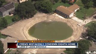 Sinkhole field crews mistakenly condemn 8th home, 7 homes remain condemned - Video
