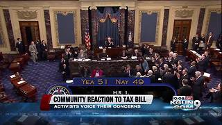Community members voice their concerns after tax bill passed the senate - Video