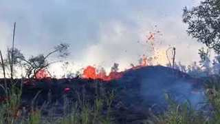 Fissure Seen in Close-Up During Eruption in Pahoa, Hawaii - Video