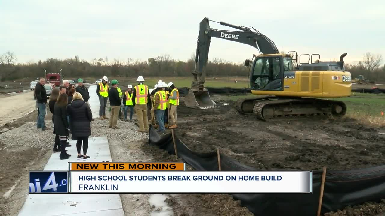Franklin High School construction students break ground on home build