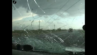 Hailstorm Destroys Car - Video