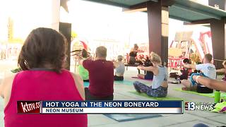 Hot yoga in the Boneyard at the Neon Museum in Las Vegas - Video