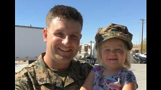 Adorable reaction of little girl who gets surprised by military dad