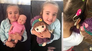 Deaf five year old girl receives doll with hearing aids in adorable video clip filmed by mum