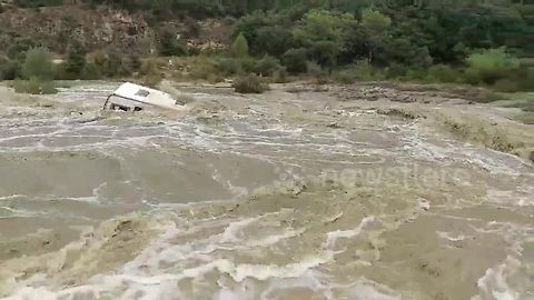 Caravan washed down river amid heavy floods in south of France