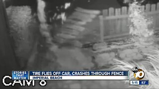 Flying Tire Crashes through fence in IB