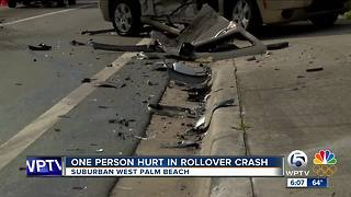 Rollover crash injures one in suburban West Palm Beach - Video