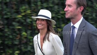 Pippa Middleton and husband James Matthews smile as they leave Wimbledon - Video