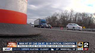 Man hit by car on rt. 50 in critical condition - Video