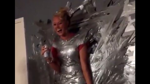 Woman Duct Taped To Wall Falls