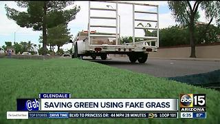 Glendale testing fake grass to save money - Video