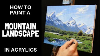 How to Paint a MOUNTAIN LANDSCAPE in ACRYLICS